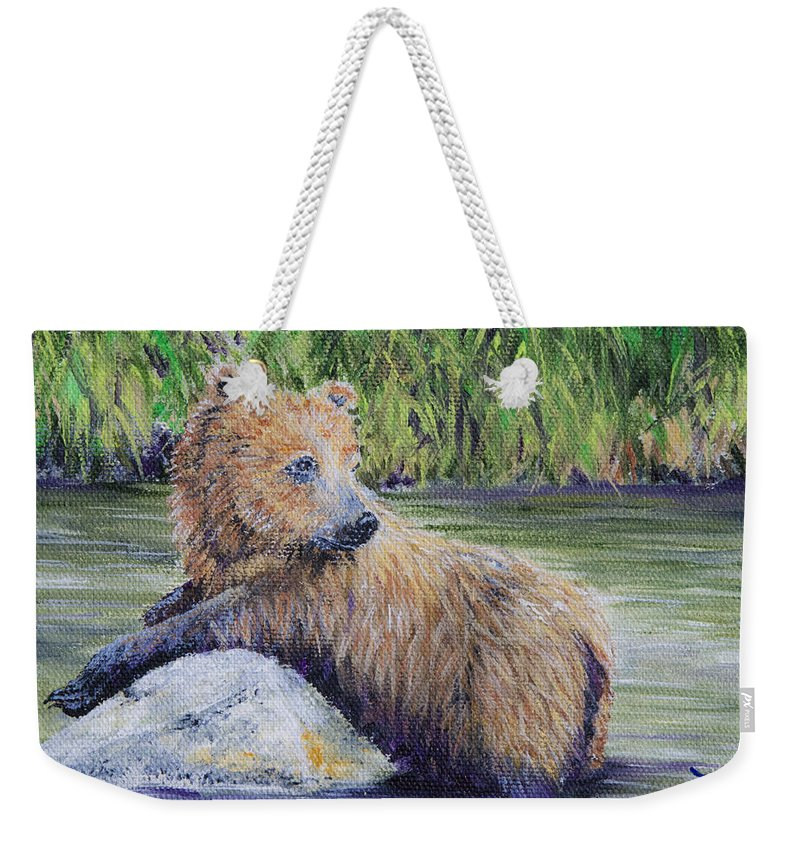 Bear Weekender Tote Bag featuring the Little Toklat Study by Dee Carpenter