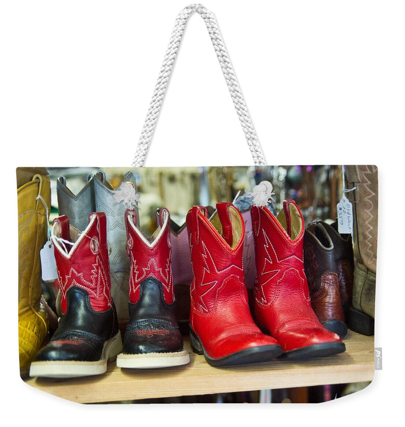Little Weekender Tote Bag featuring the photograph Little Tykes Cowboy Boots by Douglas Barnett