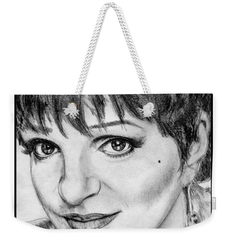 Liza Minnelli Weekender Tote Bag featuring the drawing Liza Minnelli In 2006 by J McCombie