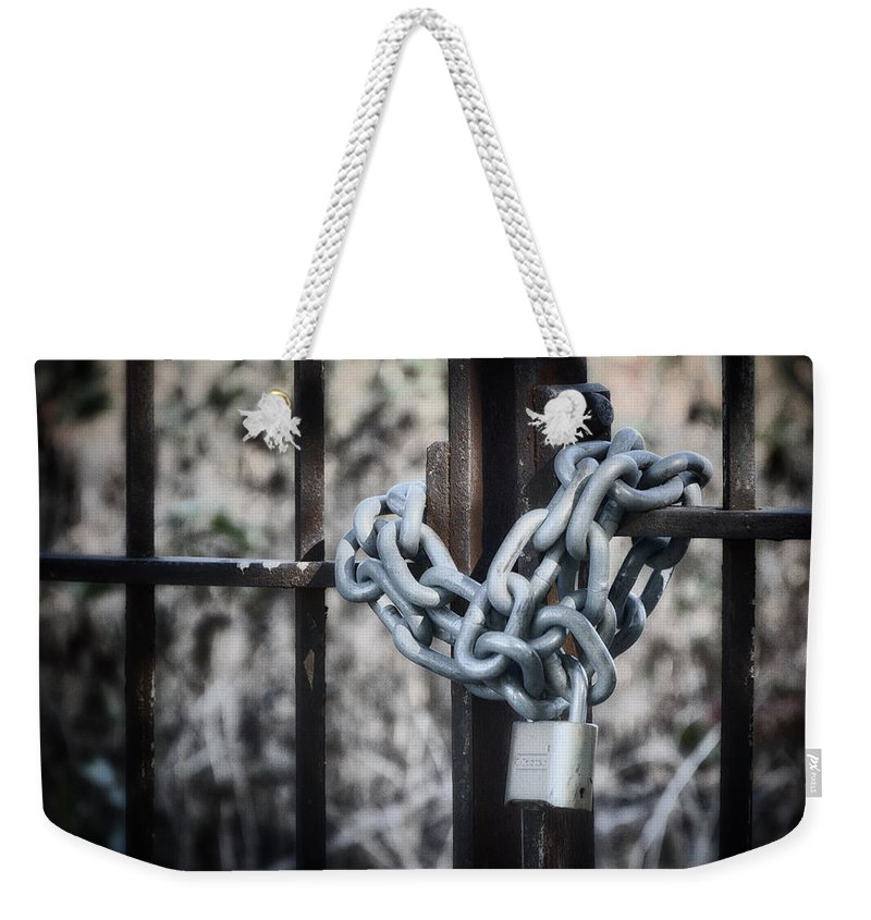 Still Life Weekender Tote Bag featuring the photograph Locked Out Again by Joan Carroll
