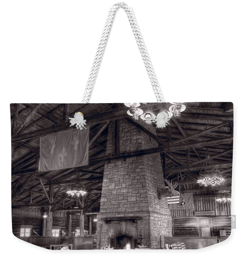 Hdr Weekender Tote Bag featuring the photograph Lodge Starved Rock State Park Illinois Bw by Steve Gadomski