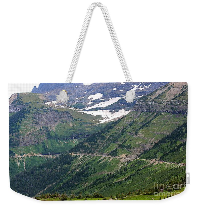 Glacier Weekender Tote Bag featuring the photograph Logan's Pass Dimension by Carol Groenen