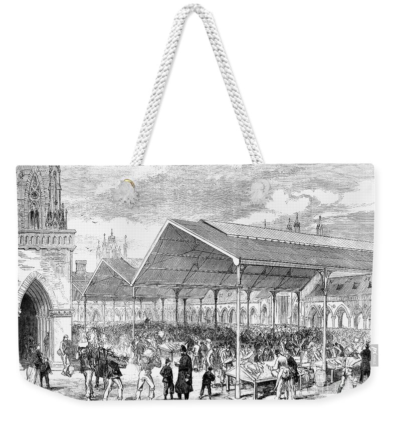 1870 Weekender Tote Bag featuring the photograph London: Fish Market, 1870 by Granger