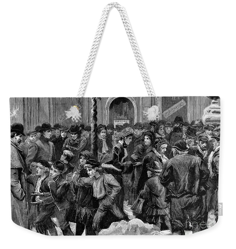 1886 Weekender Tote Bag featuring the photograph London: Soup Kitchen by Granger