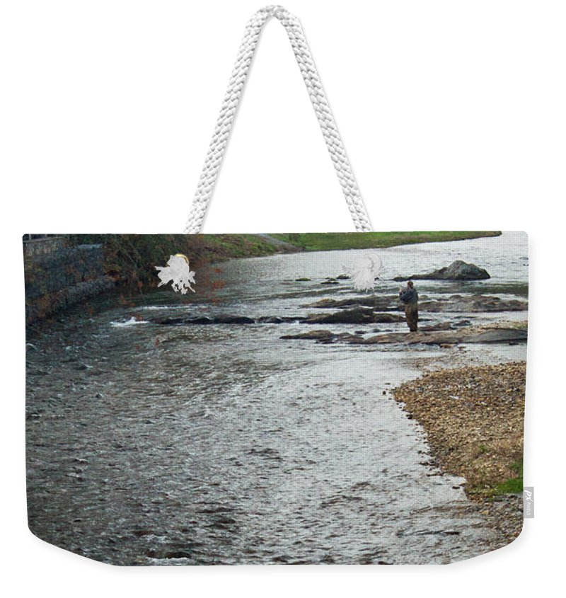 Fisherman Weekender Tote Bag featuring the photograph Lone Fisherman 2 by Douglas Barnett