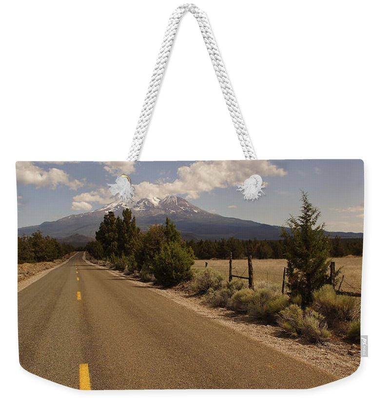Lonesome Weekender Tote Bag featuring the photograph Lonesome Hiway To Shasta by Mick Anderson