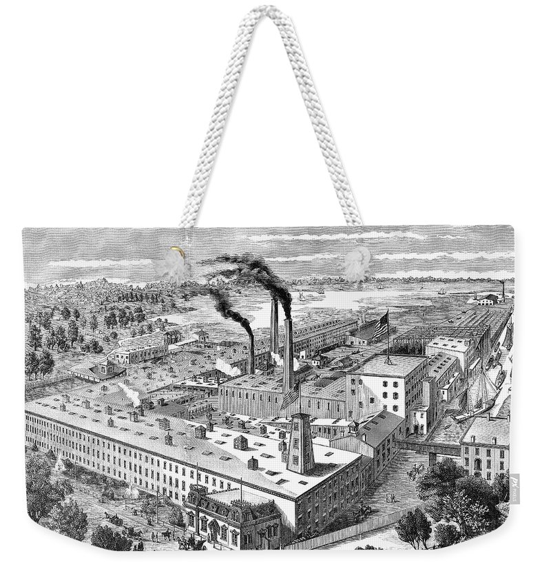 1890 Weekender Tote Bag featuring the photograph Long Island: Factory by Granger