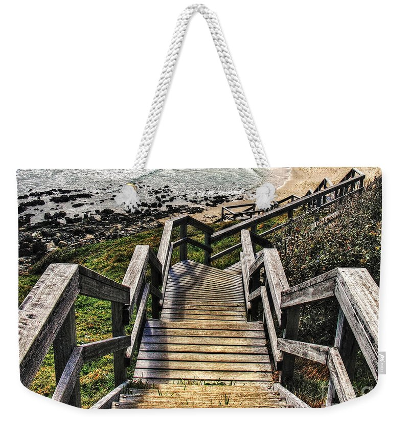 Photography Weekender Tote Bag featuring the photograph Long Stairway To Beach 2 by Kaye Menner