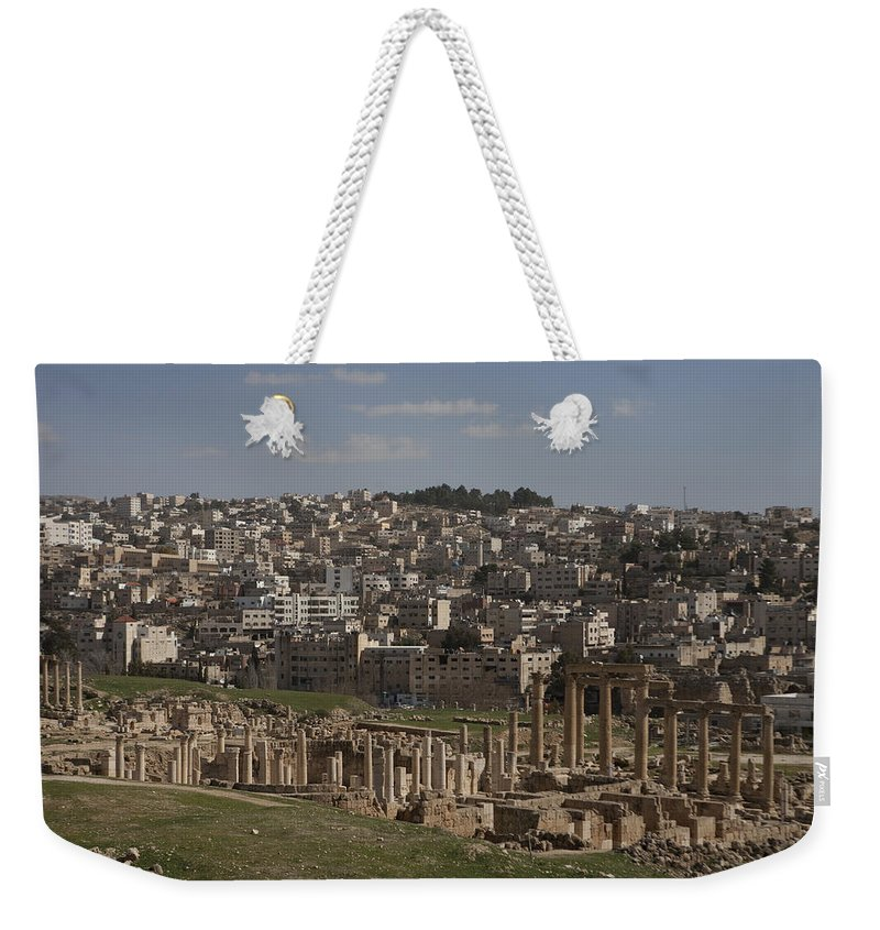 Columns Weekender Tote Bag featuring the photograph Looking Down At The Ancient And Modern by Taylor S. Kennedy