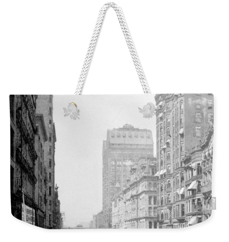 chicago Illinois Weekender Tote Bag featuring the photograph Looking Down State Street - Chicago - C 1897 by International Images