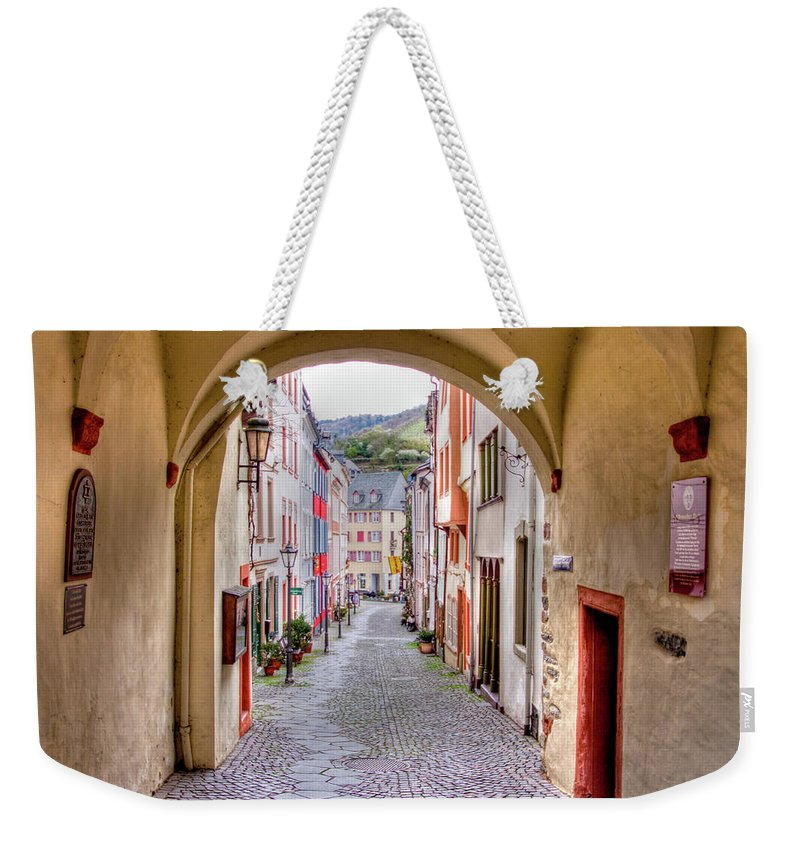 Bernkastel Weekender Tote Bag featuring the photograph Looking Through Graach Gate - Colour by Bill Lindsay
