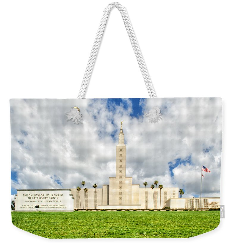 Lds Temple Photography Weekender Tote Bag featuring the photograph Los Angeles Temple Front by La Rae Roberts