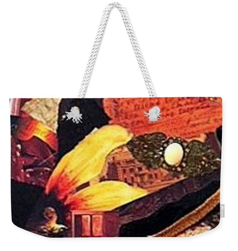 Collage Weekender Tote Bag featuring the mixed media Lost Love by Gail Kirtz