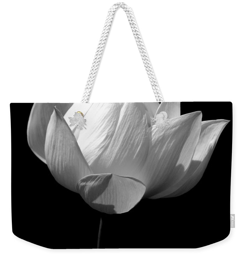 Floral Weekender Tote Bag featuring the photograph Lotus Bw by Mark Gilman