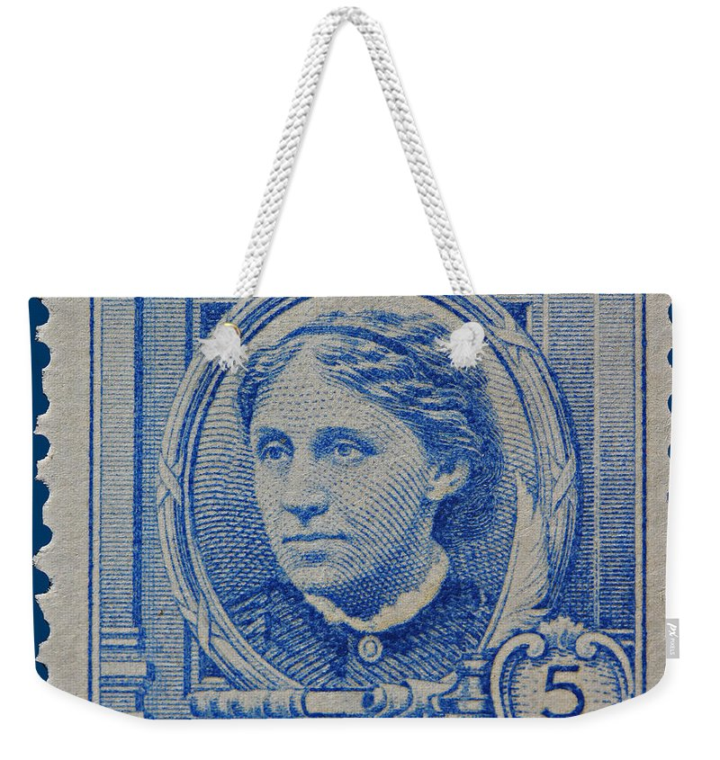 Louisa May Alcott Postage Stamp Weekender Tote Bag featuring the photograph Louisa May Alcott Postage Stamp by James Hill