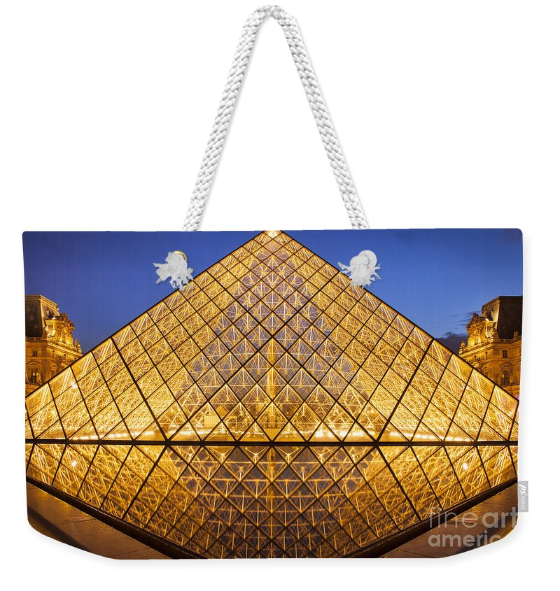 Architectural Weekender Tote Bag featuring the photograph Louvre Pyramid by Brian Jannsen