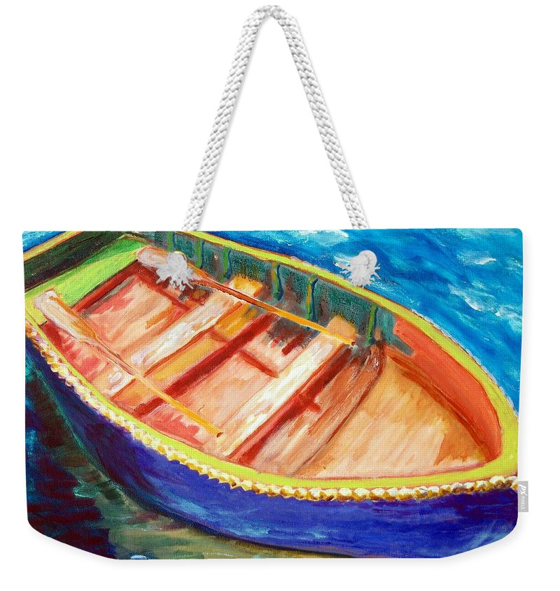 Nautical Weekender Tote Bag featuring the painting Love Boats by Robert Gross