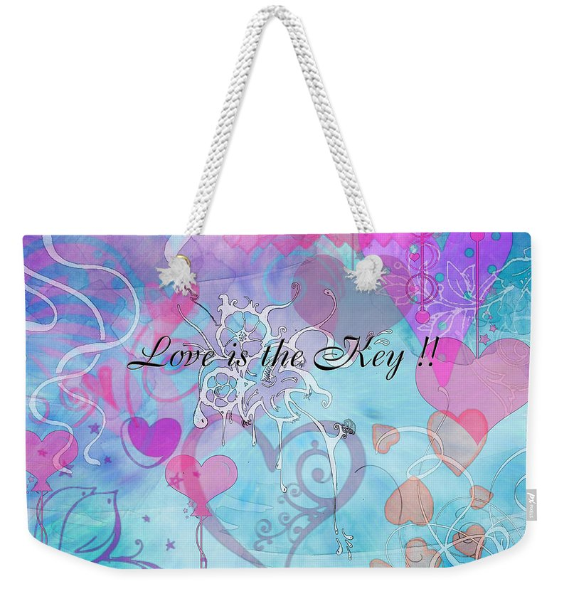 Valentine Weekender Tote Bag featuring the photograph Love Is The Key by Debbie Portwood