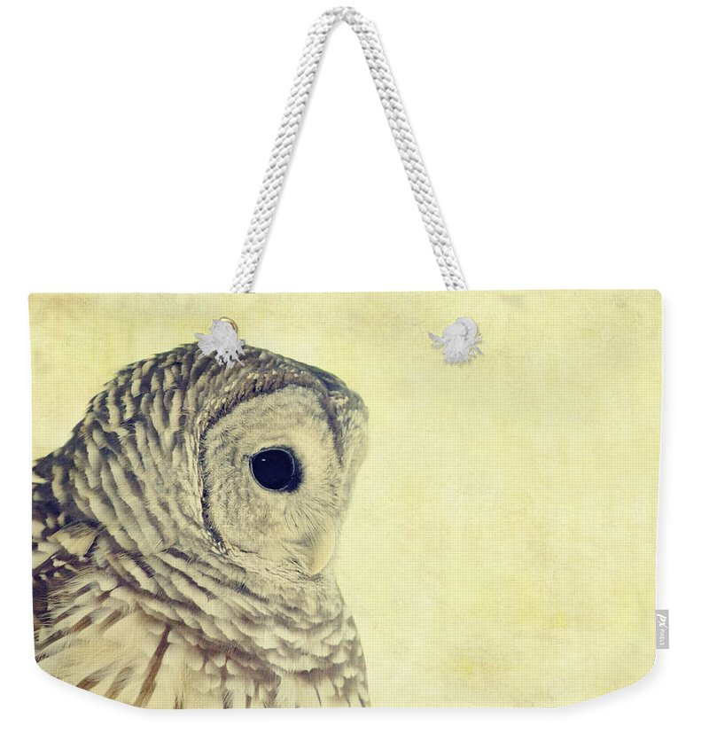 Owl Weekender Tote Bag featuring the photograph Lovely Lucy Barred Owl by Stephanie McDowell