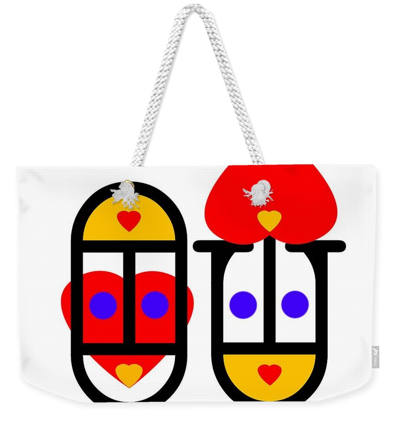 Love Weekender Tote Bag featuring the painting Lovers by Charles Stuart