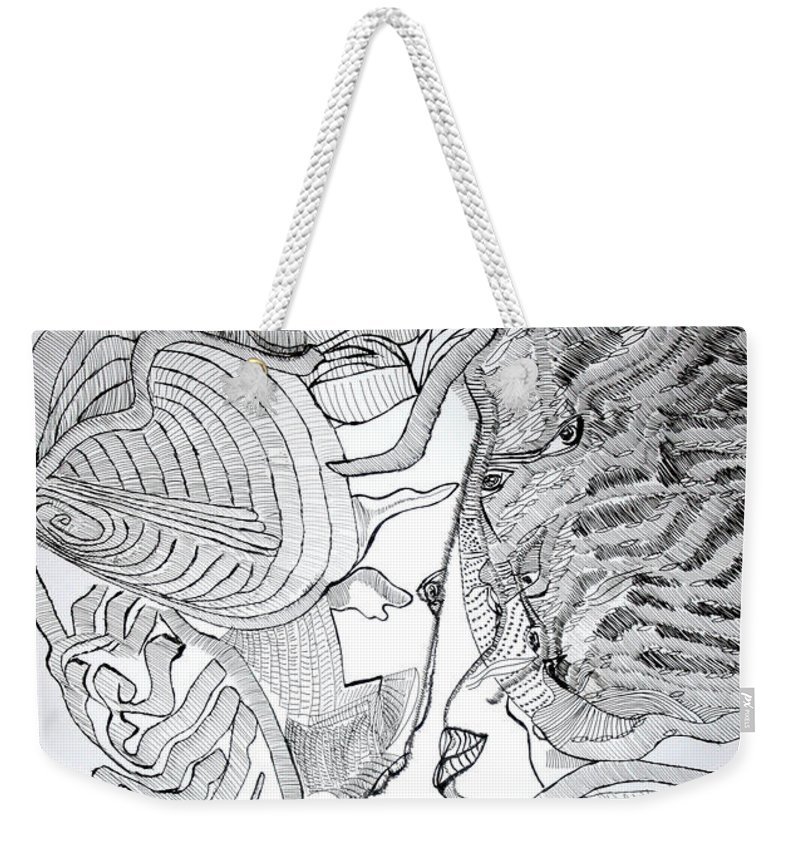 Love Weekender Tote Bag featuring the drawing Loves Prize by Gloria Ssali