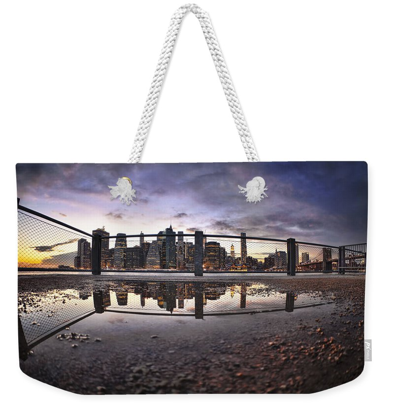Manhattan Weekender Tote Bag featuring the photograph Low Glow by Evelina Kremsdorf