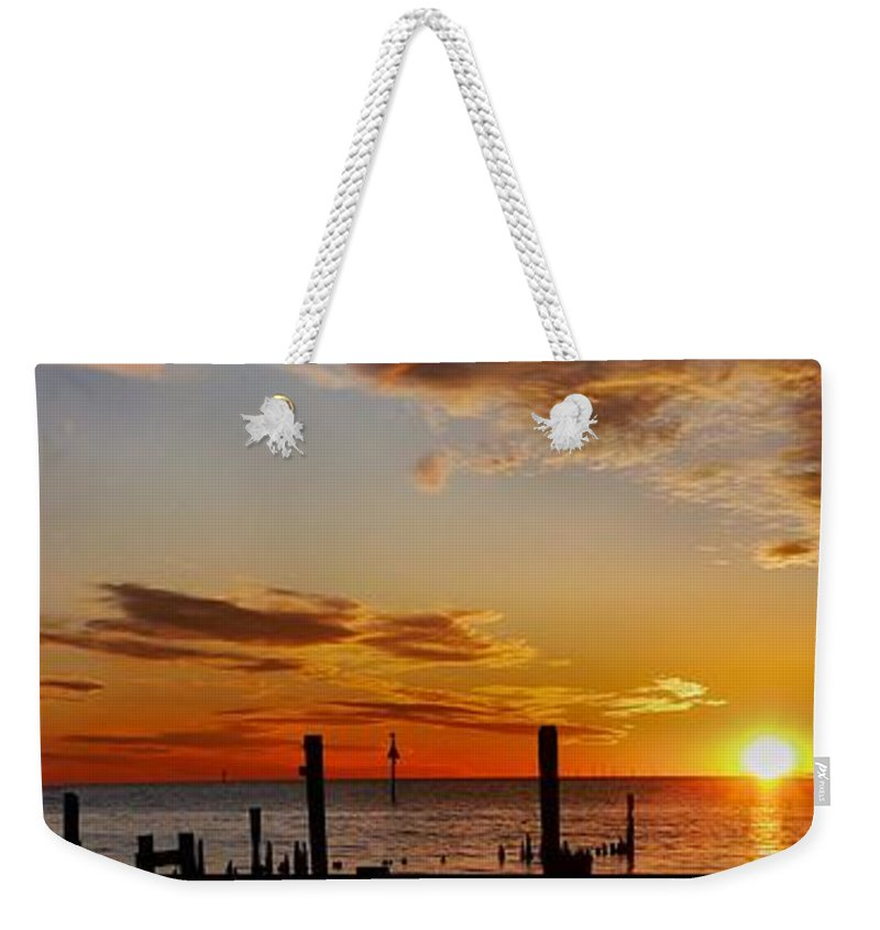 Sunset Panorama Weekender Tote Bag featuring the photograph Low Tide At The Lake by Anthony Walker Sr