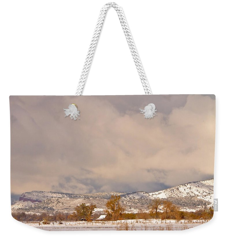 'low Clouds' Weekender Tote Bag featuring the Low Winter Storm Clouds Colorado Rocky Mountain Foothills 5 by James BO Insogna