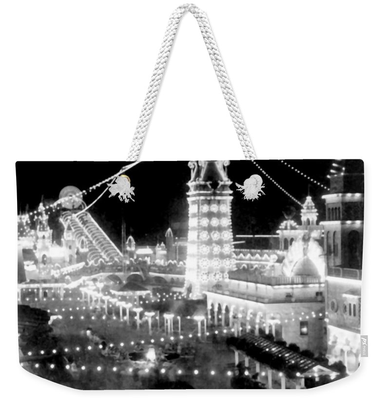 luna Park Weekender Tote Bag featuring the photograph Luna Park - Coney Island - New York At Night - C 1903 by International Images