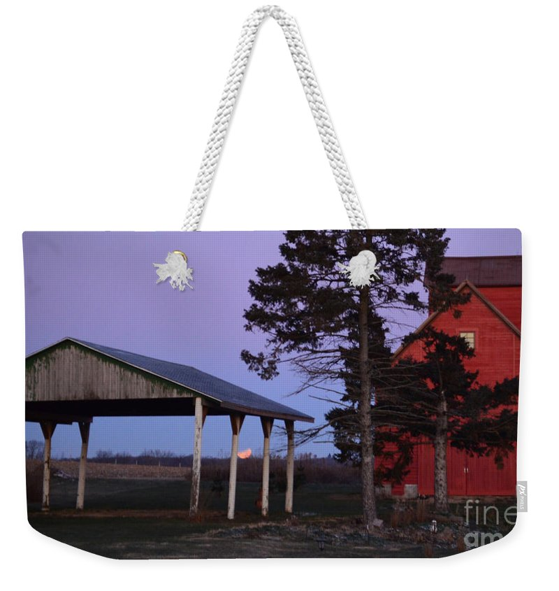 Color Photography Weekender Tote Bag featuring the photograph Lunar Eclipse At The Farm by Sue Stefanowicz