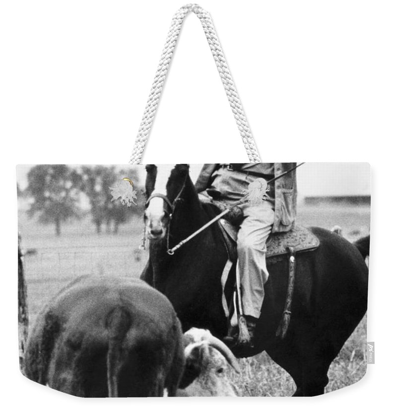 1964 Weekender Tote Bag featuring the photograph Lyndon Baines Johnson by Granger