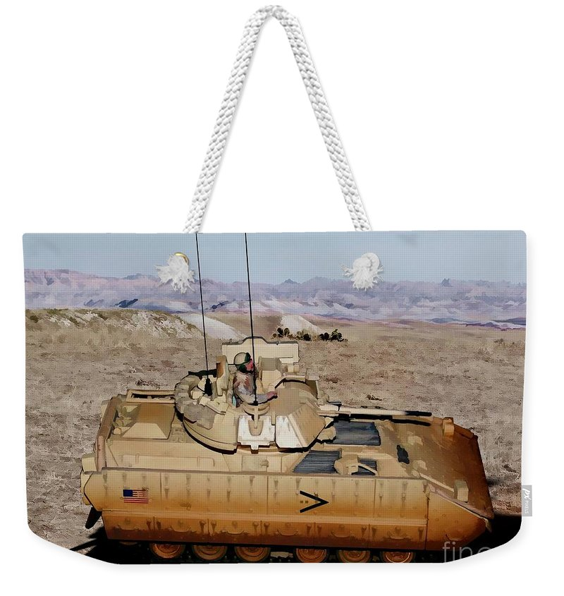 M2 Bradley Fighting Vehicle Weekender Tote Bag featuring the digital art M2 Bradley Fighting Vehicle by Tommy Anderson