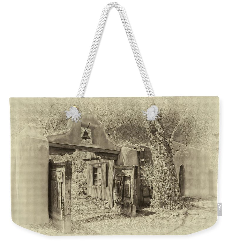 Mabel Weekender Tote Bag featuring the photograph Mabel's Gate As Antique Print by Charles Muhle