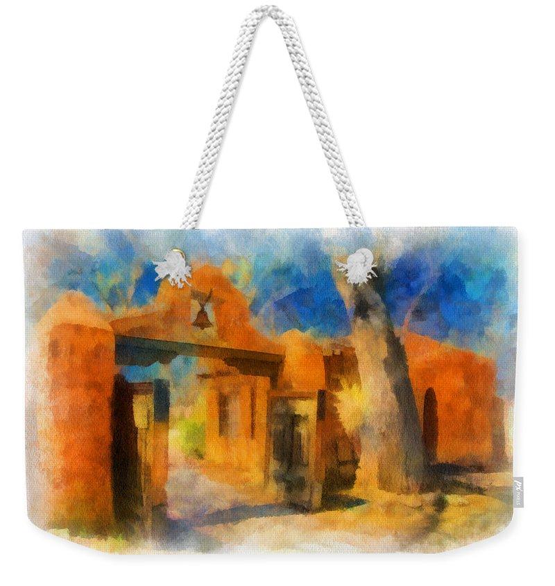 Santa Weekender Tote Bag featuring the digital art Mabel's Gate Watercolor by Charles Muhle