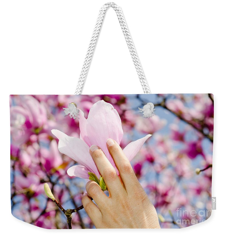 Hands Weekender Tote Bag featuring the photograph Magnolia Flower by Mats Silvan