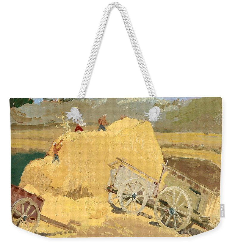 Hay Stack Weekender Tote Bag featuring the painting Making Hay Stacks by Ylli Haruni