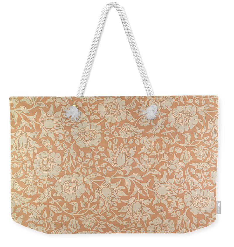 Designs Weekender Tote Bag featuring the tapestry - textile Mallow Wallpaper Design by William Morris