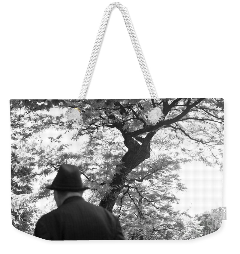 Man Weekender Tote Bag featuring the photograph Man In Hat by Madeline Ellis