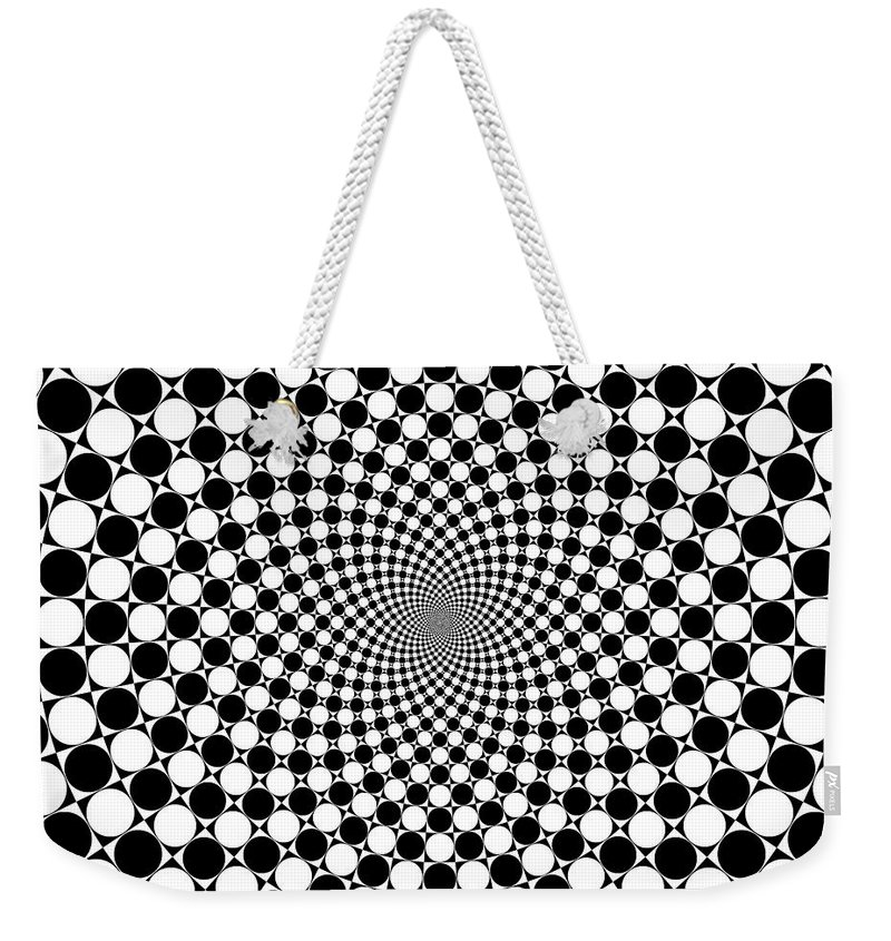 Mandala Weekender Tote Bag featuring the digital art Mandala Figure Number 9 With Black And White Circles by Marcus West