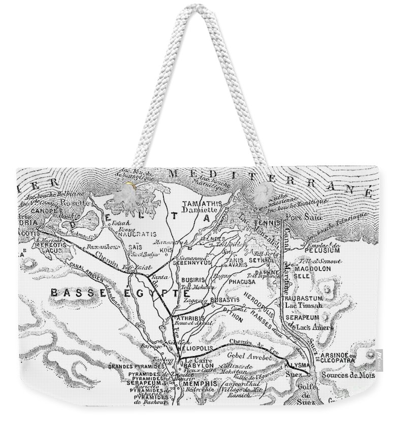 1869 Weekender Tote Bag featuring the photograph Map: Suez Canal, 1869 by Granger