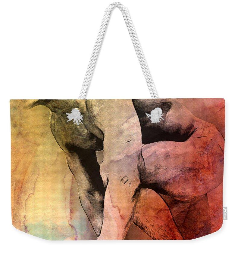 Male Nude Art Weekender Tote Bag featuring the digital art Mark by Mark Ashkenazi