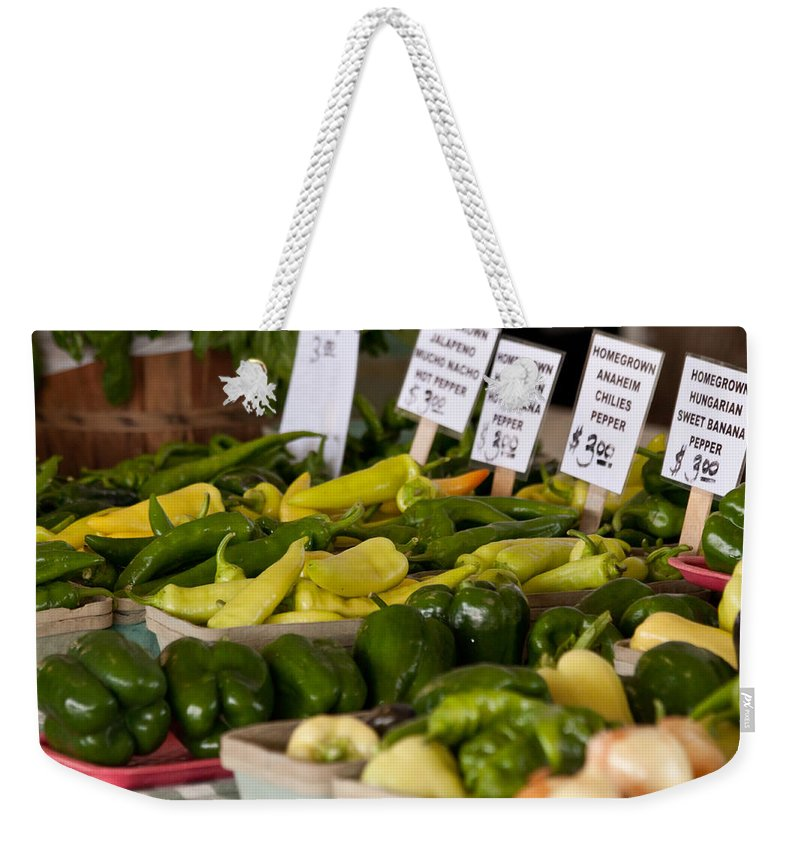 Peppers Weekender Tote Bag featuring the photograph Market Peppers by Lauri Novak