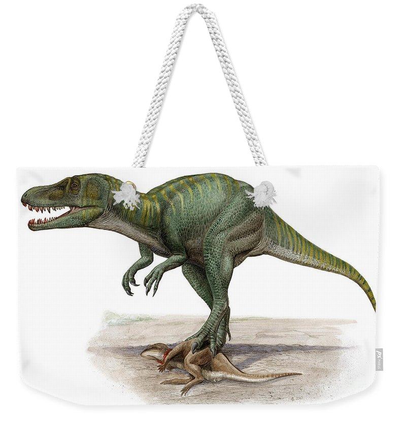 Horizontal Weekender Tote Bag featuring the digital art Marshosaurus Bicentesimus by Sergey Krasovskiy