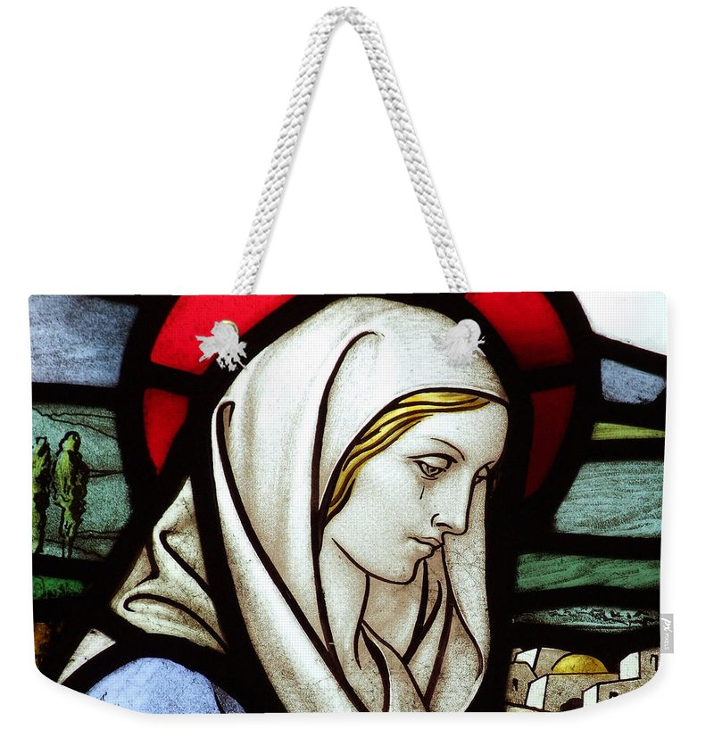 Stained Weekender Tote Bag featuring the photograph Mary Tears by Munir Alawi