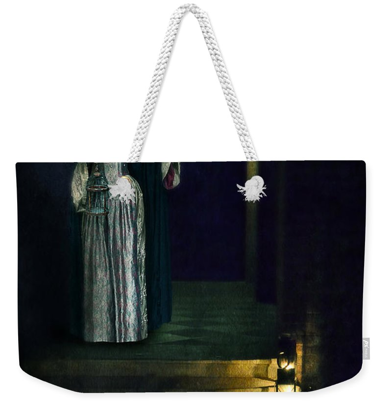 Lady Weekender Tote Bag featuring the photograph Masked Lady by Jill Battaglia
