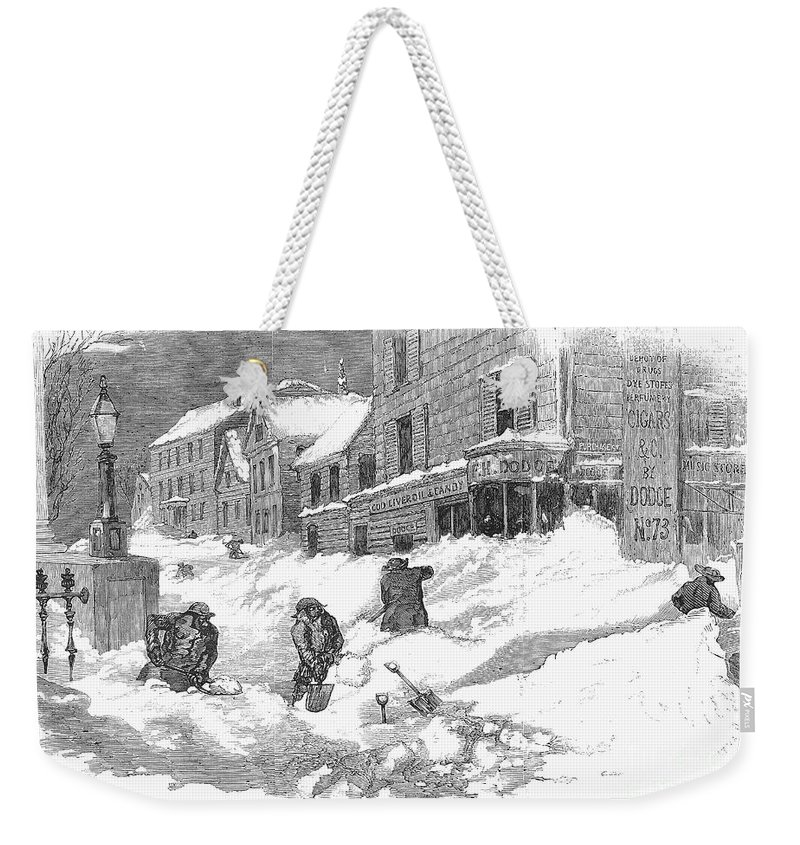 1857 Weekender Tote Bag featuring the photograph Massachusetts: Blizzard by Granger