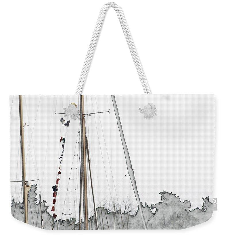 Sail Weekender Tote Bag featuring the digital art Mast Head by Hannah Breidenbach