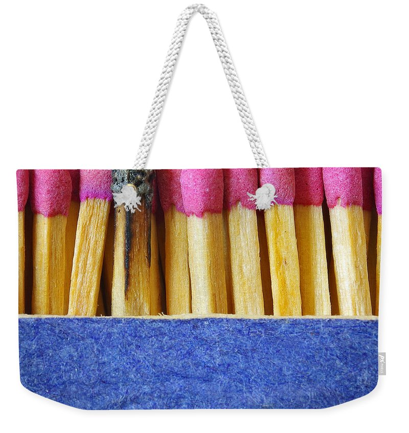 Blue Weekender Tote Bag featuring the photograph Matchbox by Carlos Caetano