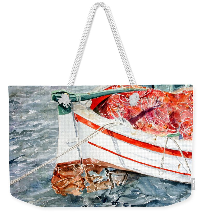 Boats Weekender Tote Bag featuring the painting Matricola 2ca 970 by Giovanni Marco Sassu