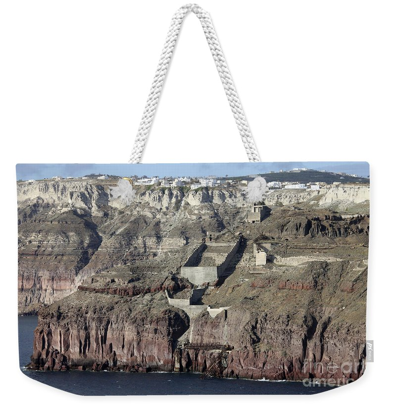 Day Weekender Tote Bag featuring the photograph Mavromatis Pumice Quarry With Pier by Richard Roscoe